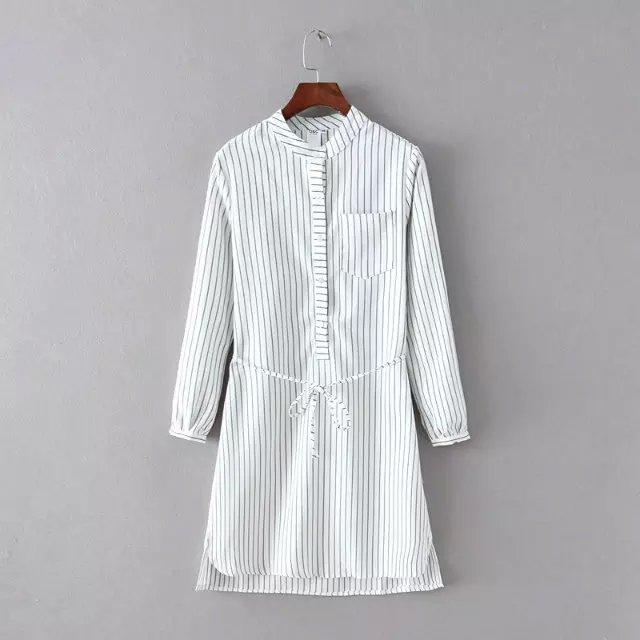 Spring Fashion Women Elegant thick white striped print ...