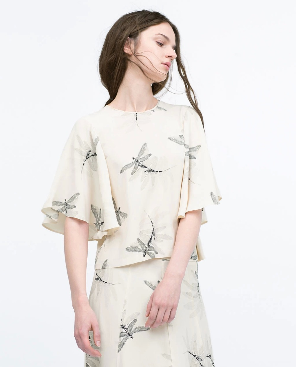 Spring Fashion Women Elegant Vintage beige Dragonfly ...
