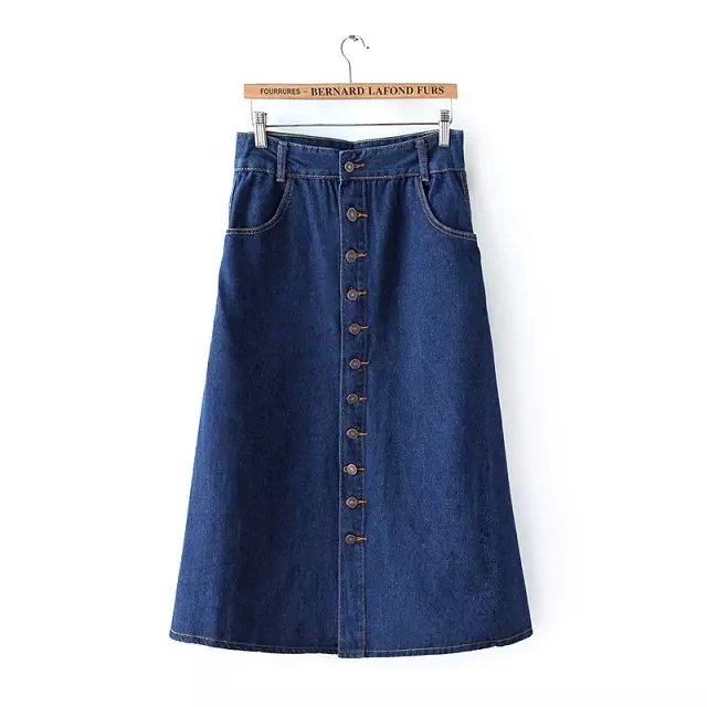 Spring Fashion women elegant vintage Button Pocket Blue ...