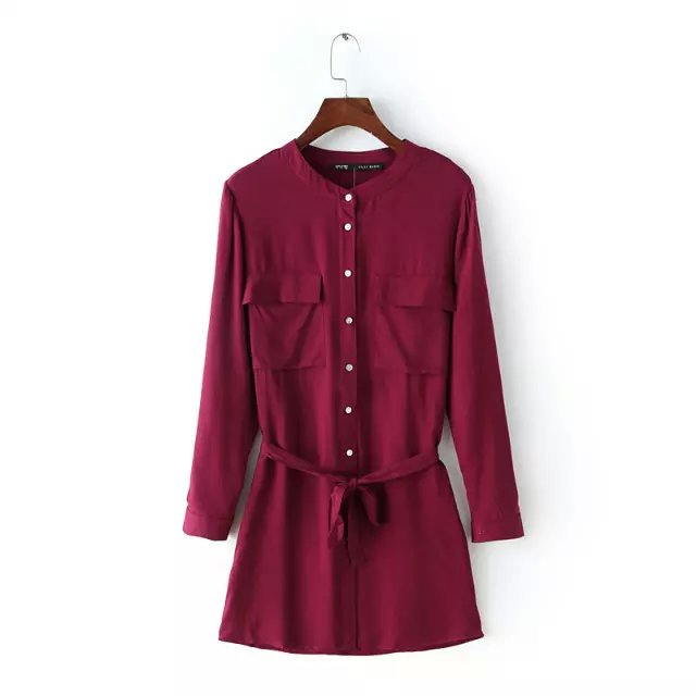 Spring Fashion Women elegant wine red cotton with belt ...