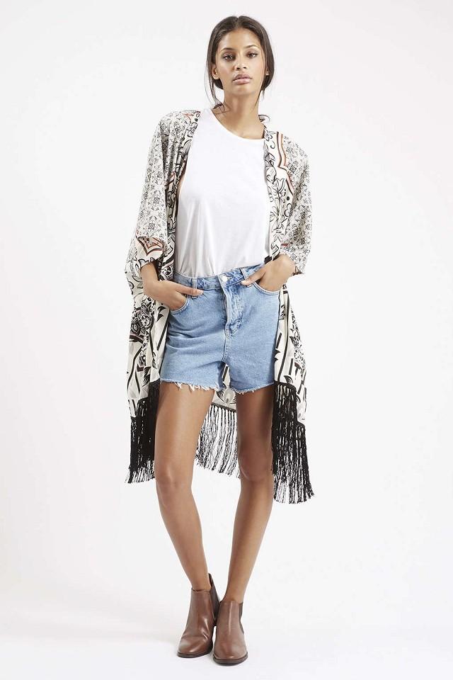 Spring Fashion Women Floral print Tassel Kimono outwear ...