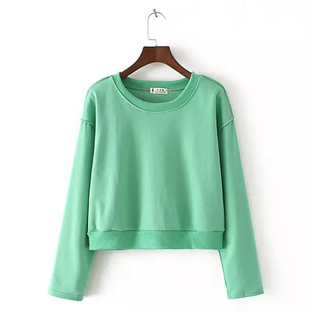 Spring Fashion Women green sport Short pullovers Casual ...