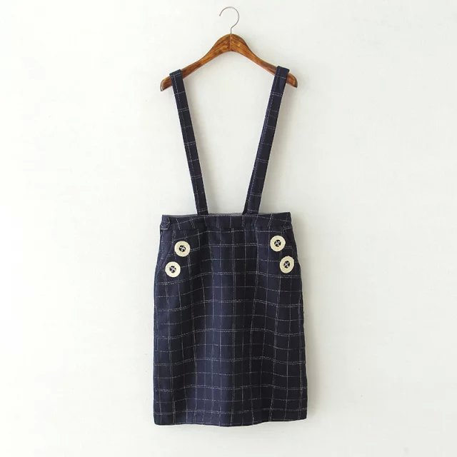 Spring Fashion Women school style blue plaid print woolen ...