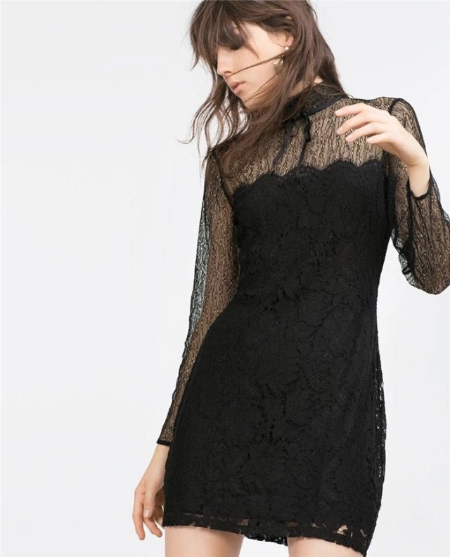 Spring Fashion women sexy hollow out lace black long ...