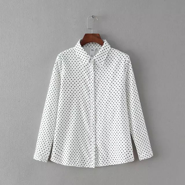 Spring Fashion Women thick white dots print Blouse Turn-...