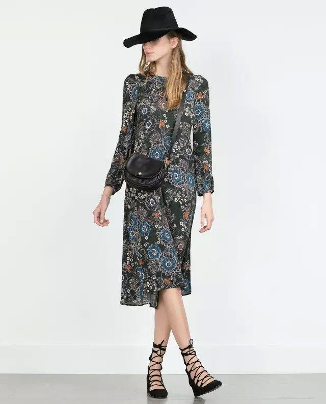 Spring Fashion women vintage Boho floral print back zipper cotton Mid-calf pleated Dress long sleeve O-neck brand vestidos
