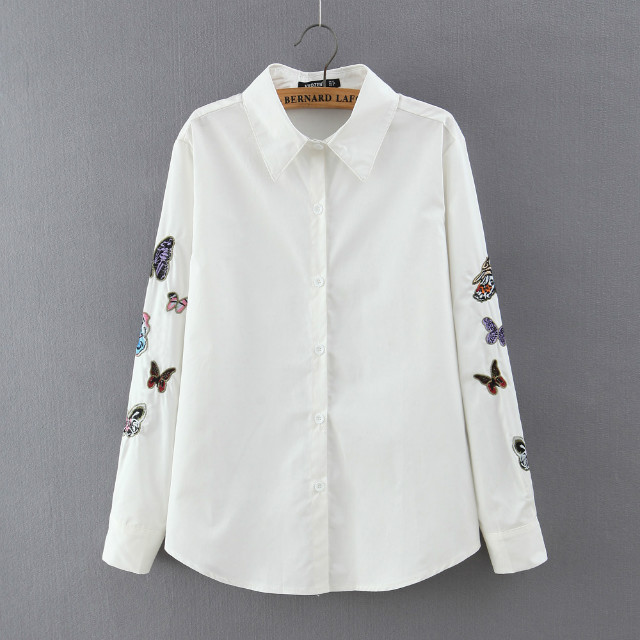 Spring fashion women white Butterfly Embroidery blouse ...