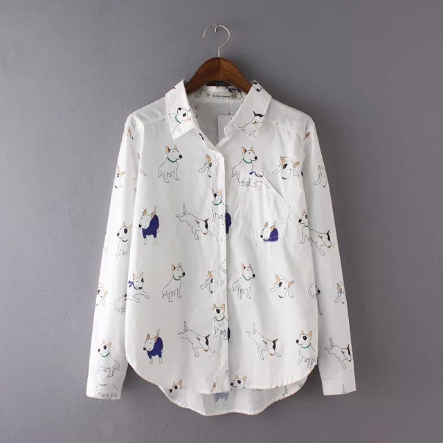 Spring Fashion Women white cute Dog print blouses pocket ...