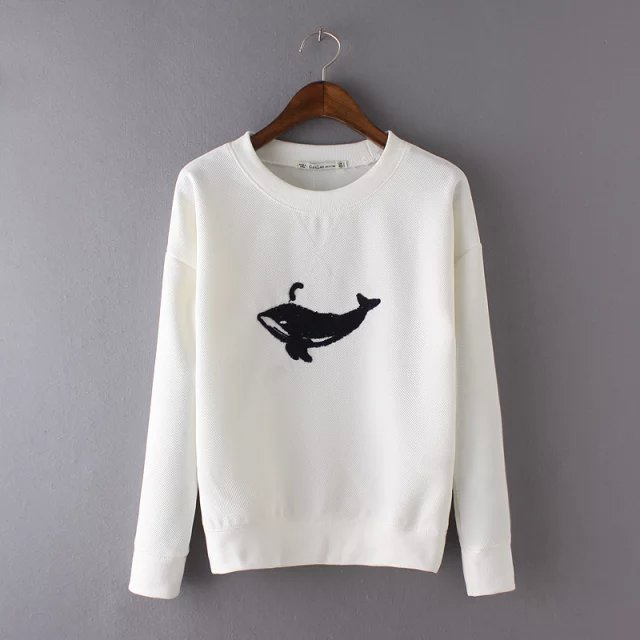 Spring Fashion Women white dolphins Embroidery pullovers ...