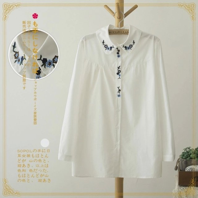 Spring fashion women white floral Embroidery cotton ...
