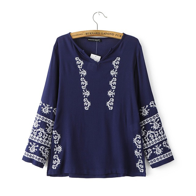 Spring Fashion Women white Geometric Embroidery Blouse ...