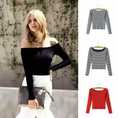 Spring women fashion Knitted Sweaters stretch short ...
