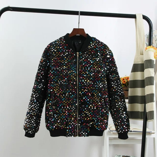 Winter European fashion women black Sequins pocket zipper ...