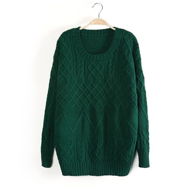 Winter Fashion women thick green knitwear Pullovers ...