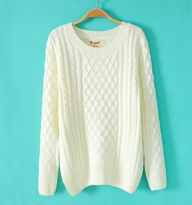 Winter Fashion women white knitwear Pullovers O-neck ...