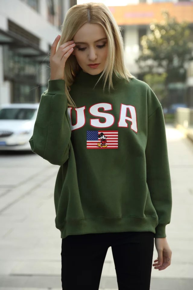 Winter thick warm Fashion women green Fleece Letter ...