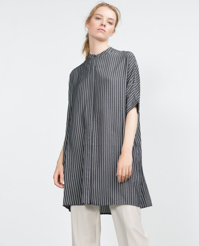 Women elegant Long Shirt Dress Spring Fashion Gray Striped ...