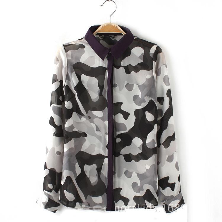 Women fashion elegant camouflage print blouses vintage ...
