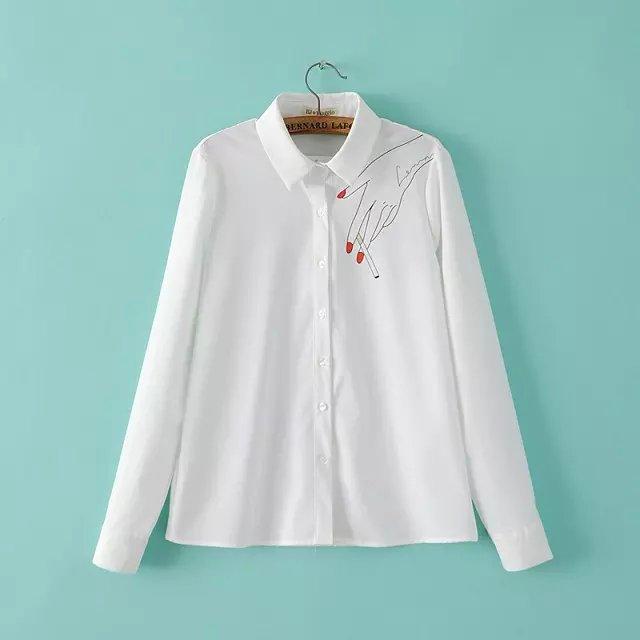 Women fashion Spring elegant hand print white blouses ...