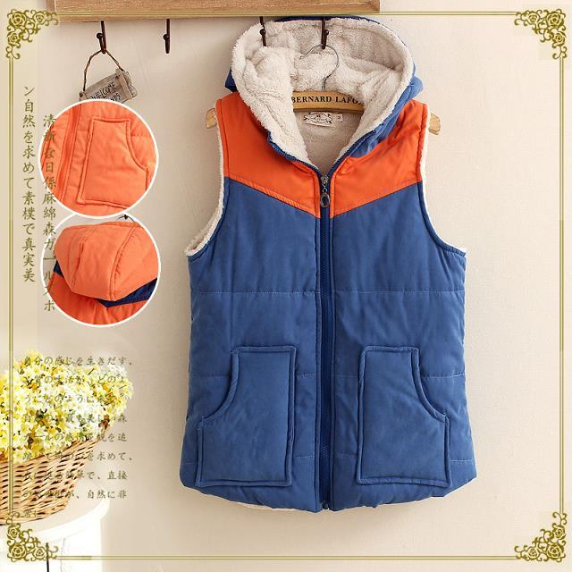 Women Fashion Winter thick warm blue orange patchwork ...