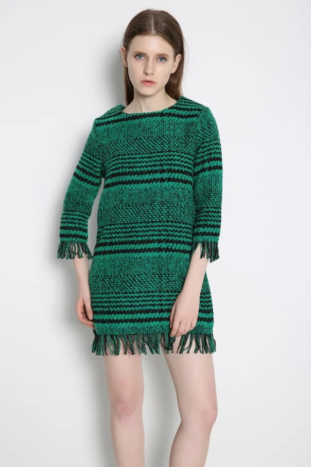 Women Fashion winter thick warm plaid patern Green Knitted ...