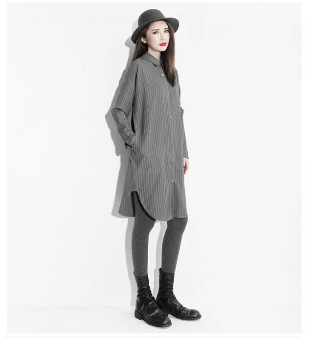 Women Long Shirt Dress Spring Fashion Striped Print ...