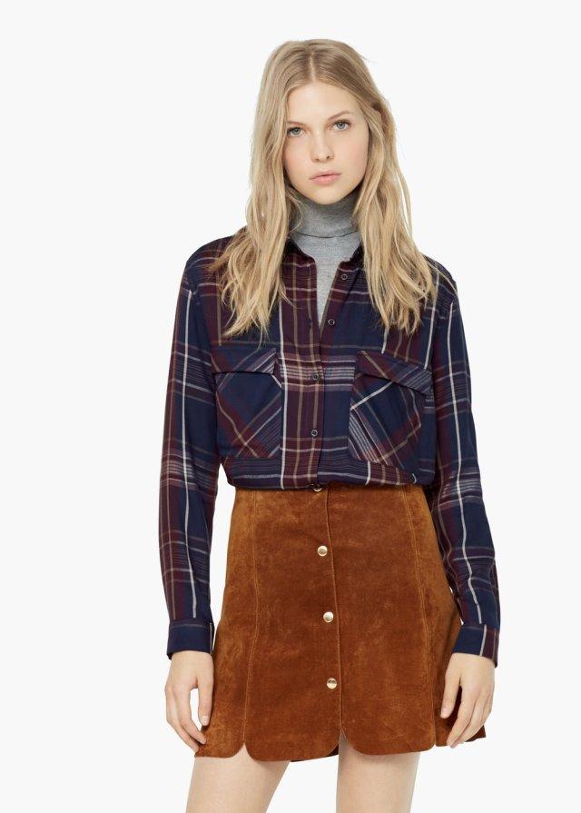 Women Spring fashion england cotton plaid blouses turn-...