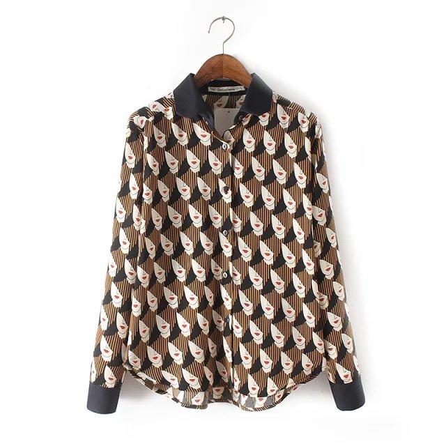 Women Spring Fashion striped face print Turn-down Collar ...