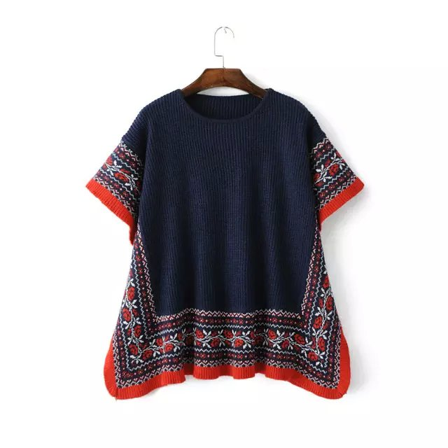 Women Sweaters Fashion Vintage blue floral pattern Knitted ...