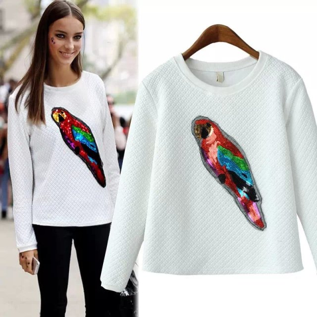 Women Sweatshirt Spring Fashion white paillette embroidery ...