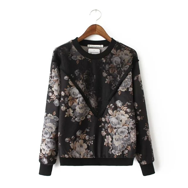Women sweatshirts Fashion black woolen floral print ...