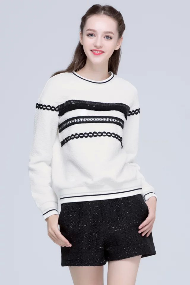 Women sweatshirts Fashion White lace sequins tassel ...
