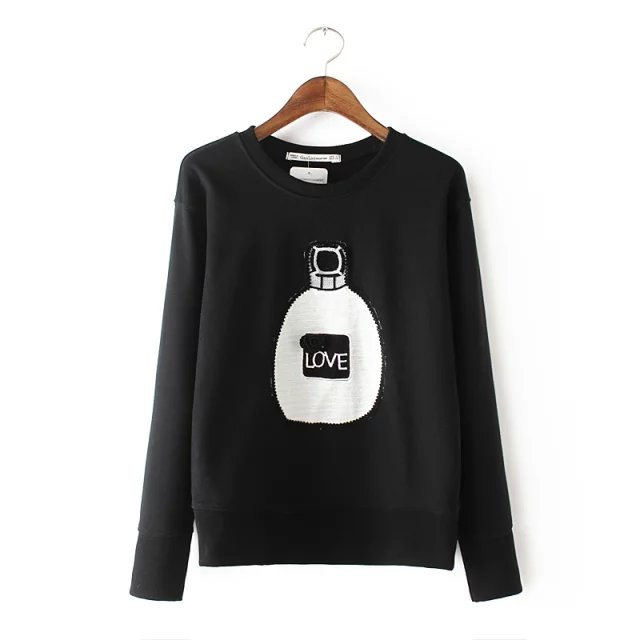 Women Sweatshirts Spring Fashion black floral Perfume ...