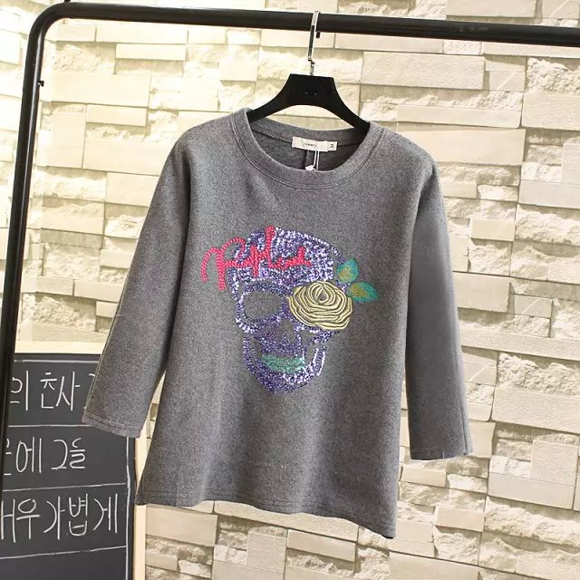 Women Sweatshirts Spring Fashion gray sequins floral ...