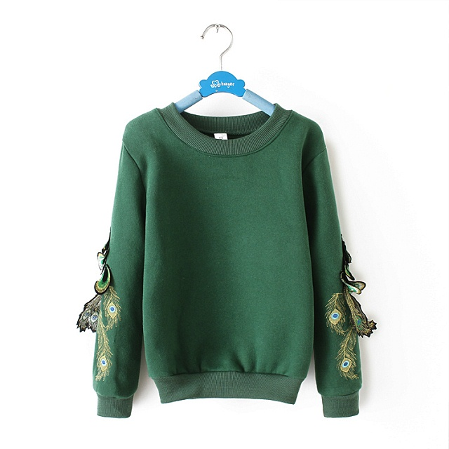 Women Sweatshirts Winter Thick warm Fashion green Peacock ...