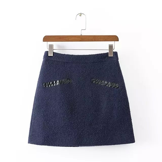Women winter Fashion American apparel blue Woolen PU ...