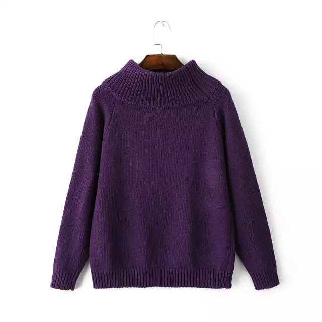 Women Winter thick warm fashion purple Knitted Sweaters ...