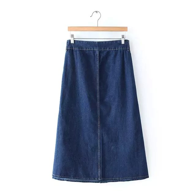 Spring Fashion women elegant vintage Button Pocket Blue Denim A-Line Knee Length Skirts quality casual brand female
