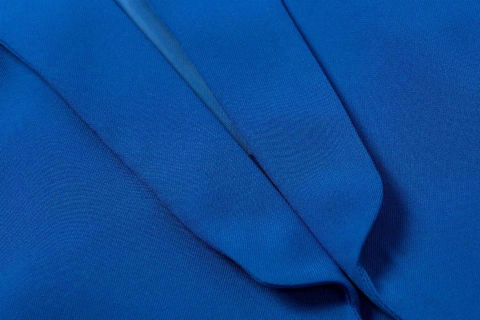 European Fashion women blue long sleeve pocket office lady blazer feminino Female work wear jacket suit casual brand