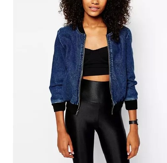 American Apparel Women Blue Denim baseball jacket Fashion ...
