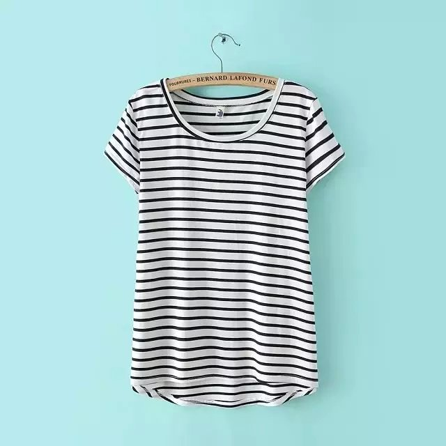 American Fashion elegant striped print O-neck cotton ...