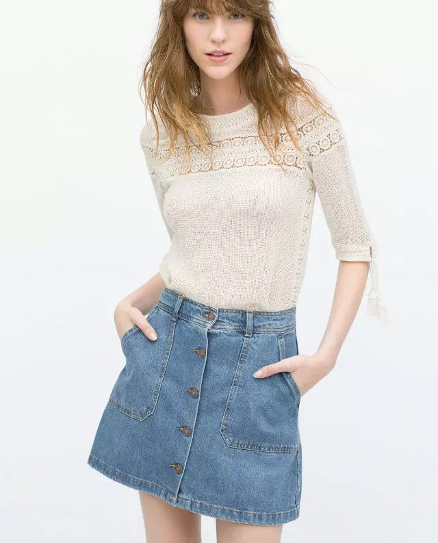 American Fashion Women Blue Denim pocket Button A-Line mini skirt Quality casual lady saias feminina faldas jupe