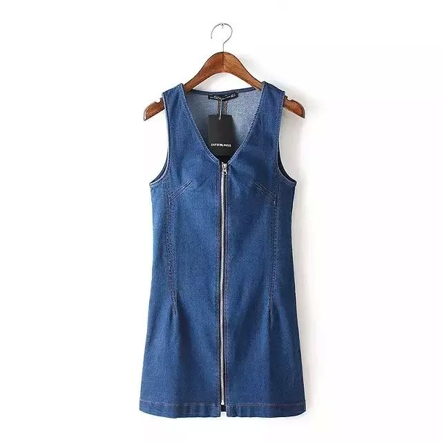 American Fashion women Elegant Denim blue vest Dress ...