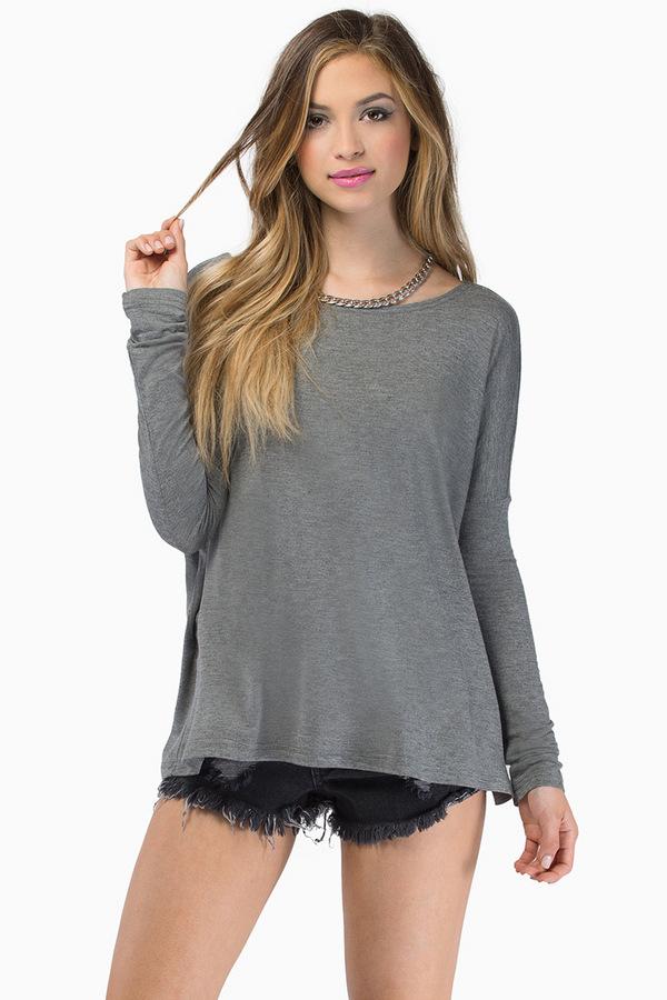 American Fashion women Elegant gray O-Neck batwing Sleeve ...