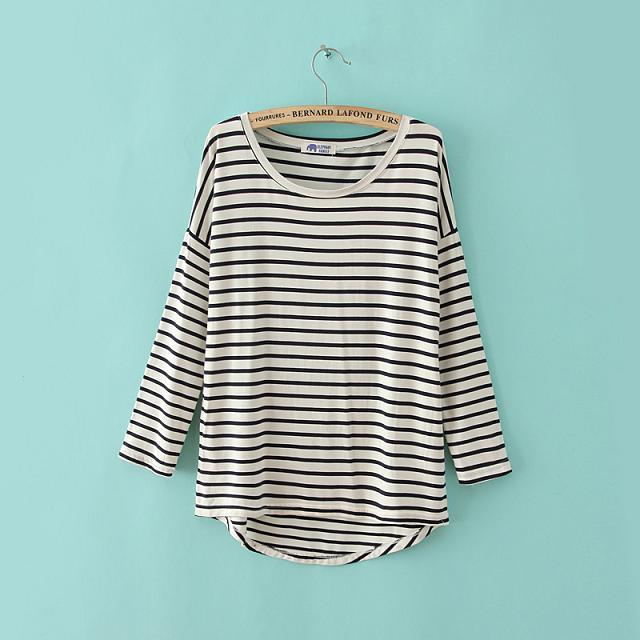 American Fashion women Elegant striped print cotton ...