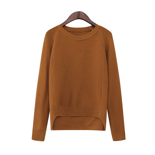 American fashion Women Knitted Sweaters brown Irregular ...
