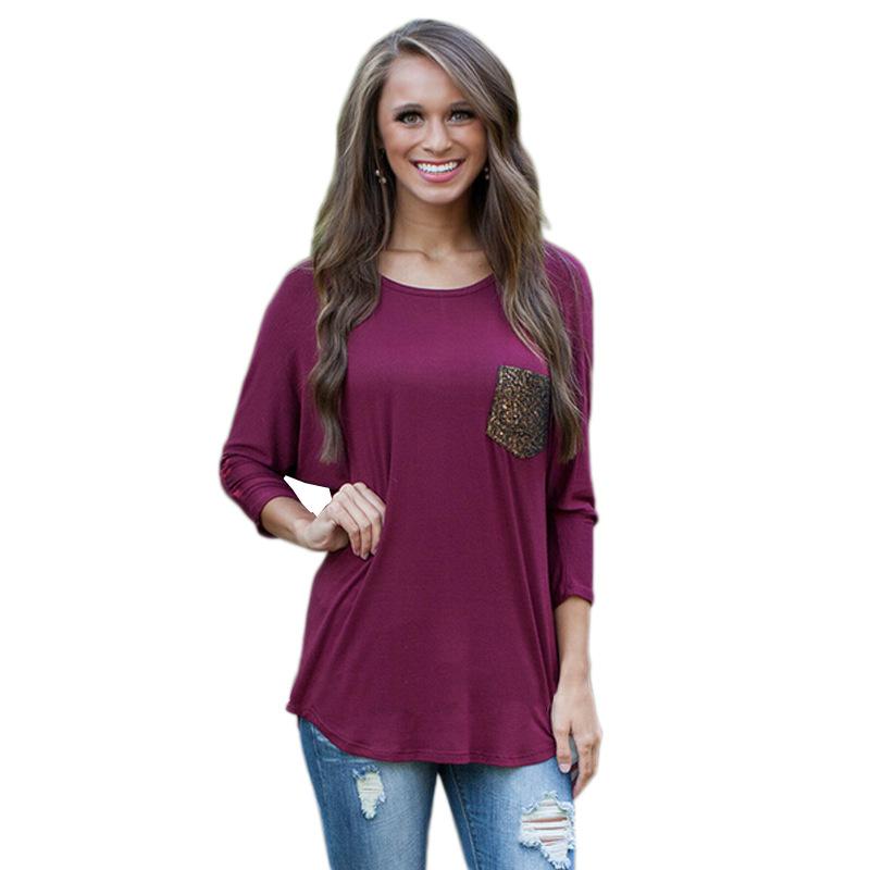 American Fashion women purple patchwork pocket Three ...