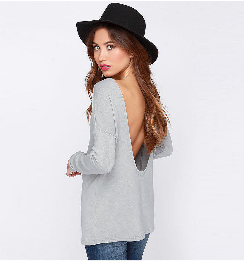 American Fashion women sexy Gray O-neck backless T-shirt ...