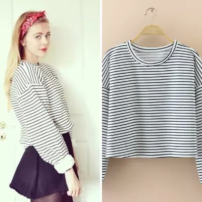 American Fashion Women white striped print cotton short ...