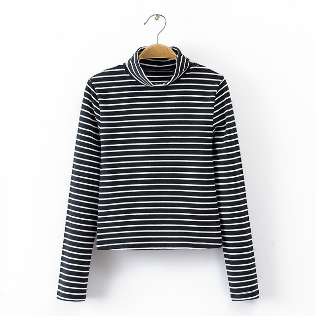 American fashion Women winter cotton black Striped Print ...